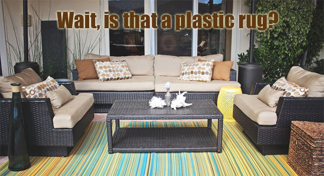 Cancun Striped Outdoor Plastic Rug